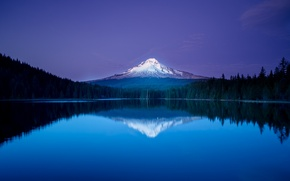 Picture forest, the sky, snow, lake, reflection, mountain