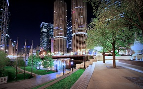 Picture night, bridge, skyscrapers, Chicago, lights, USA, America, alley, bridge, Skyscrapers, Houses