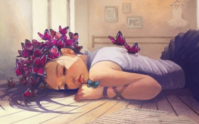 Picture girl, butterfly, notes, dress, art, leaves, pictures, lies, hanger, osame