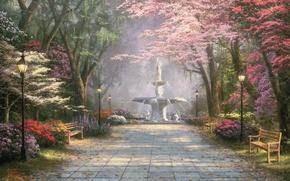 Picture flowers, Park, lights, lantern, fountain, painting, alley, painting, Thomas Kinkade, Kinkade, Azalea, Mimosa, dogwood, Savannah …