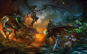 Picture weapons, fire, art, starcraft, World of Warcraft, battle, arthas, Sarah Kerrigan, sylvanas windrunner, BAI