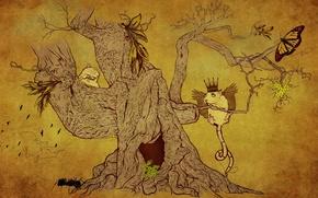 Wallpaper Tree, animals, figure