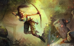 Picture girl, bow, art, Tomb Raider, Lara Croft, Lara Croft