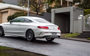 Picture road, machine, white, Mercedes-Benz, Mercedes, Coupe, back, C 300, AMG line