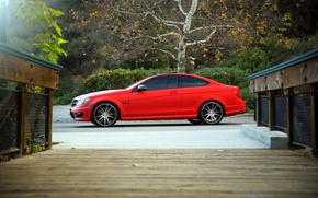 Picture red, wheels, side, Mercedes Benz, AMG, C63