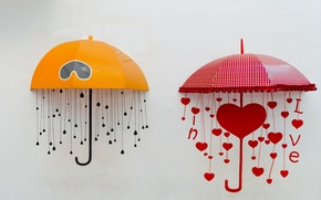 Picture yellow, red, umbrella, background, widescreen, Wallpaper, mood, heart, umbrella, umbrellas, umbrellas, wallpaper, heart, umbrella, widescreen, …