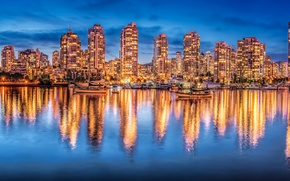 Picture reflection, building, yachts, Canada, panorama, Vancouver, Canada, night city, British Columbia, Vancouver, British Columbia, Bay ...