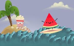 Picture sea, wave, the sky, island, shark, watermelon, sky, sea, island, popcorn, shark, wave, Steam, watermelon, ...