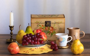 Wallpaper Apple, candle, grapes, Cup, pear, fruit, chest, still life