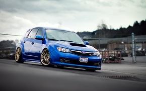 Picture Subaru, Impreza, blue, blue, Subaru, Impreza, manhole cover, STi