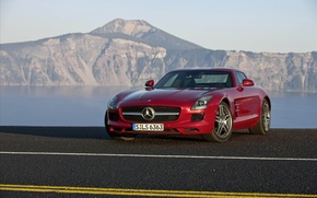 Picture machine, road, cars, road, mercedes sls cars, Mercedes SLS