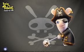 Picture skull, rabbit, pirate, eye patch, Raving Rabbids Travel in Time
