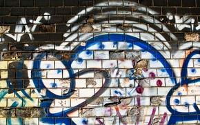 Picture white, blue, bricks, pattern, dirty, spray paint, broken ceramic, ceramic