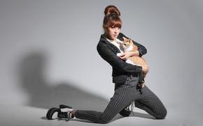 Picture cat, cat, girl, pose, model, Asian, pants