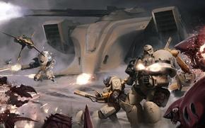 Wallpaper battle, warhammer, space Marines, tyranids, space marines, 40k, tau, Tau, tyranid, XV25