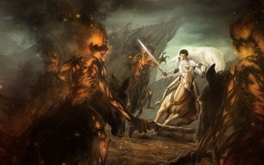 Picture demons, horse, art, guy, rider, sword, in white, fire