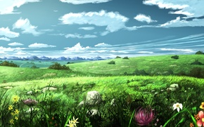 Picture the sky, landscape, flowers, meadow, art, painting, soyokaze