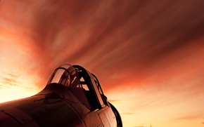 Picture the sky, sunset, the plane