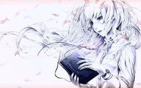 Picture figure, petals, Girl, pendant, blouse, book, headband, bracelet