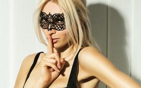 Wallpaper look, girl, mask, blonde, beautiful, lips. gesture