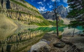 Wallpaper lake, reflection, mountains, trees, Canada, stones