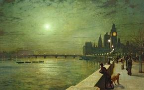 Picture dog, picture, bridge, the parapet, London, people, Big Ben, the moon, boats, tower, John Atkinson ...