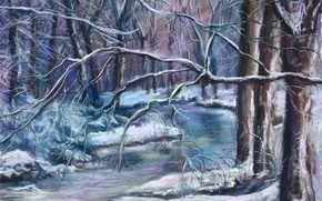 Wallpaper winter, snow, trees, landscape, branches, frost, river, painting
