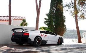 Picture white, tuning, Lamborghini, SuperVeloce, LP670–4, Murciélago