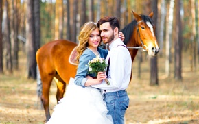 Picture forest, girl, trees, nature, horse, bouquet, pair, lovers, two, bokeh, man.flowers