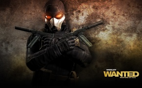 Picture gun, Assassin, man, Weapon, Wanted Weapons of Fate, Mask, Game Wallpaper, Belt, Glove, Overcoast