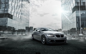 Picture The sky, Fog, The city, BMW, Tuning, BMW, Drives, Coupe, E92, Deep Concave