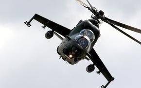 Wallpaper Photo, Flight, The sky, Helicopter, Transport-Combat, Mi-24, Height