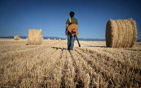 Picture field, music, people, guitar