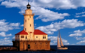 Wallpaper Chicago, Lighthouse, Yacht