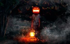 Picture boy, pumpkin, bats, horror, Happy Halloween