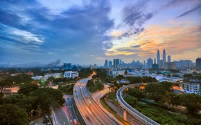 Picture road, skyscrapers, highway, road, Malaysia, skyscrapers, Kuala Lumpur