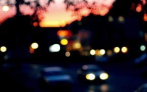 Picture car, machine, macro, the city, lights, background, widescreen, Wallpaper, street, blur, the evening, blur, wallpaper, ...
