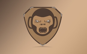 Picture anger, logo, monkey, shield