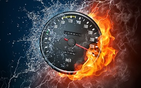 Picture style, flame, speed, squirt, smoke, water, category, Speedometer, drops, fire