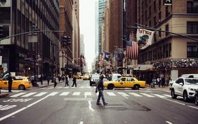 Picture cars, New York, Manhattan, street, people, skyscrapers, cityscape, urban scene