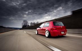 Picture road, red, tuning, volkswagen, red, Golf, golf, Volkswagen, stance, MK4