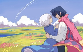 Picture field, girl, clouds, flowers, art, guy, Hayao Miyazaki, Howl's moving castle, Howl's Moving Castle, sophie …