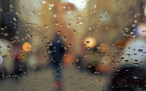 Wallpaper autumn, glass, drops, the city, lights, rain, people, silhouette, bokeh