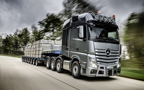 Picture movement, speed, track, Mercedes, cargo, tractor, Actros