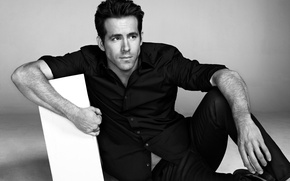 Picture actor, black and white, male, shirt, Ryan Reynolds, Ryan Reynolds
