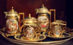 Picture people, figure, kettle, Cup, mugs, set, tea
