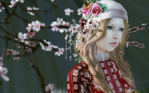 Picture girl, background, spring