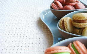 Picture cookies, plate, cream, cakes, sweet, macaron