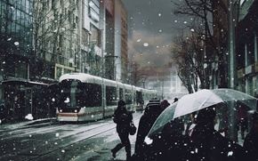 Wallpaper snow, people, umbrellas, tram