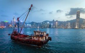 Picture the city, ship, Hong Kong Bay